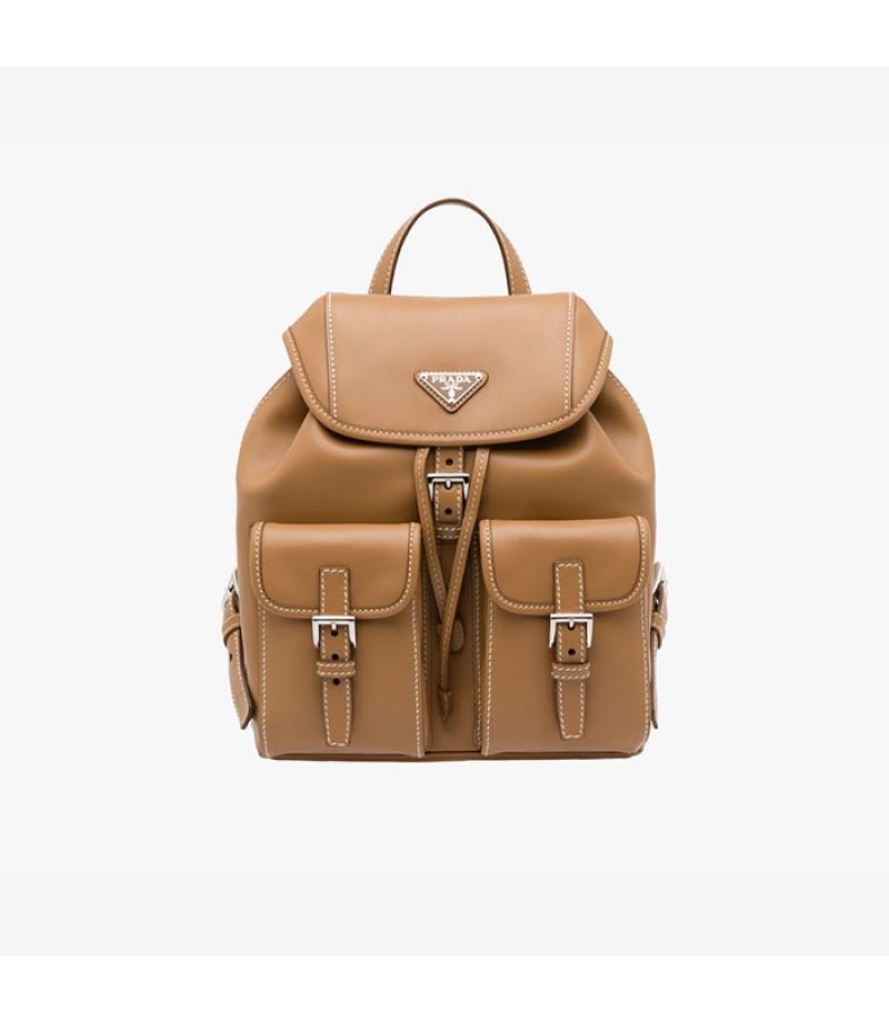 6a2dd42b85 ... purseprada c21c8 fd7d4 canada prada b6677b leather backpack in brown  7dc96 24a21 ...