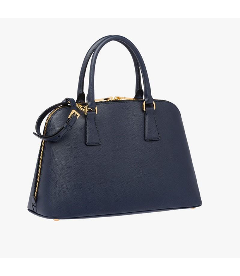 ... norway prada 1ba837 leather top handle bag in navy blue c8d6b 0589f ... 24f9b8bcca216