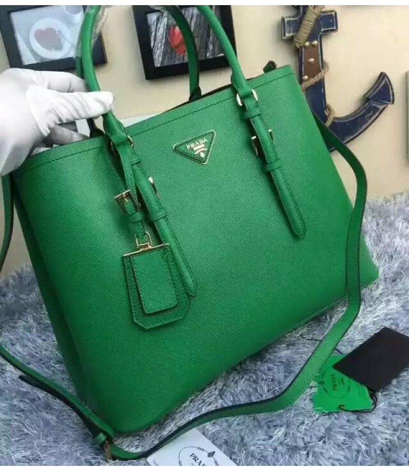 26e2c6a926d604 ... bag b3dba e5aac sweden prada bn2820 leather tote in green 34ff4 c5f71  ...
