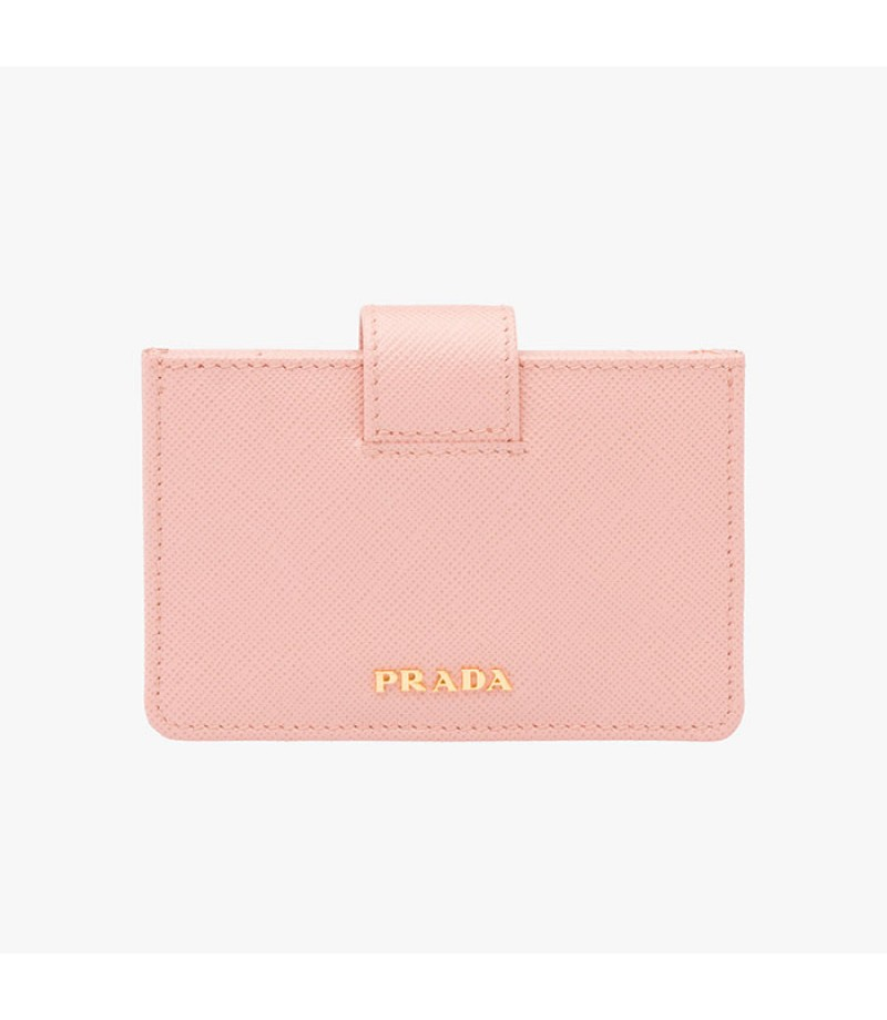 056fa8bcd00a ... clearance prada 1mc211 leather credit card holder in pink 280d2 ad61b